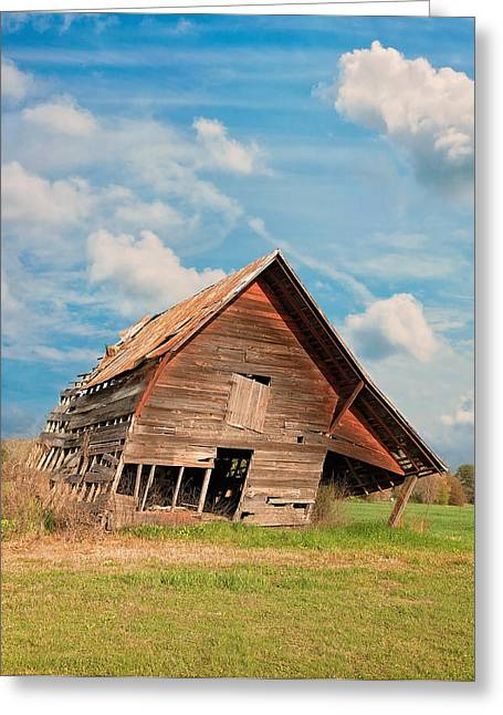 Hay Bales Greeting Cards - The Crooked Barn Greeting Card by Kim Hojnacki