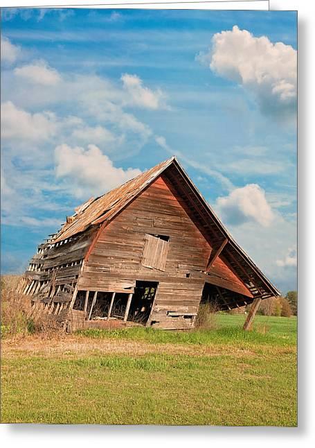 Old Barns Greeting Cards - The Crooked Barn Greeting Card by Kim Hojnacki