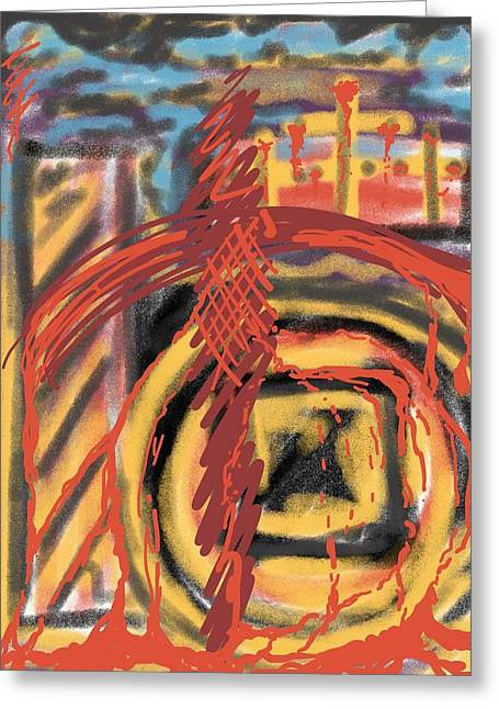 Spirt Drawings Greeting Cards - The Cross Over Greeting Card by Robert Watson