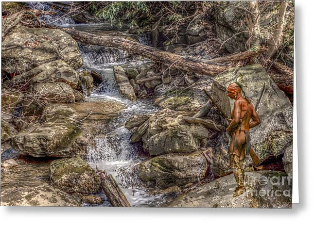 Frontier Art Greeting Cards - The Crossing Indian Warrior Greeting Card by Randy Steele