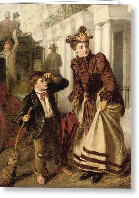 Impoverished Greeting Cards - The Crossing Sweeper Greeting Card by William Powell Frith