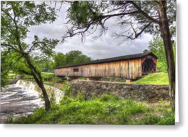 Fall In Georgia Greeting Cards - The Crossing Watson Mill Covered Bridge Greeting Card by Reid Callaway