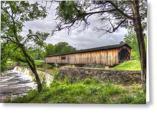 Grist Mill Greeting Cards - The Crossing Watson Mill Covered Bridge Greeting Card by Reid Callaway