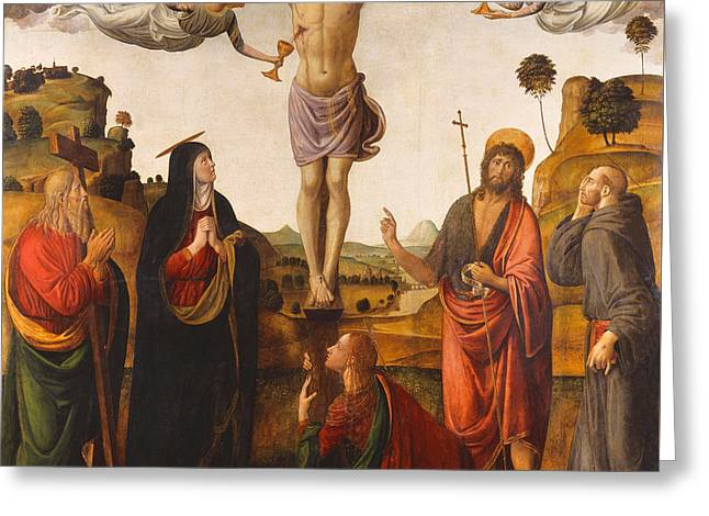 Blood Of Christ Greeting Cards - The Crucifixion Greeting Card by Cosimo Rosselli