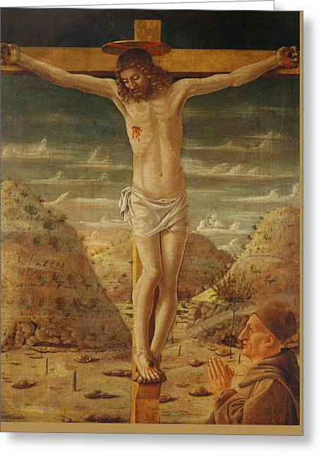 The Crucifixion Greeting Card by Giovanni Bellini