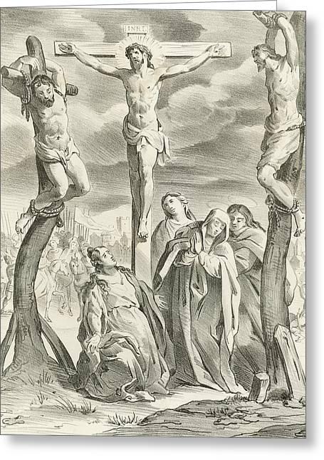 The Crucifixion Greeting Card by Hendrik van the Elder Balen