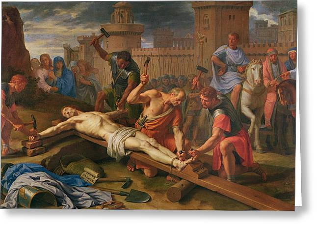 Hammer Paintings Greeting Cards - The Crucifixion Greeting Card by Philippe de Champaigne