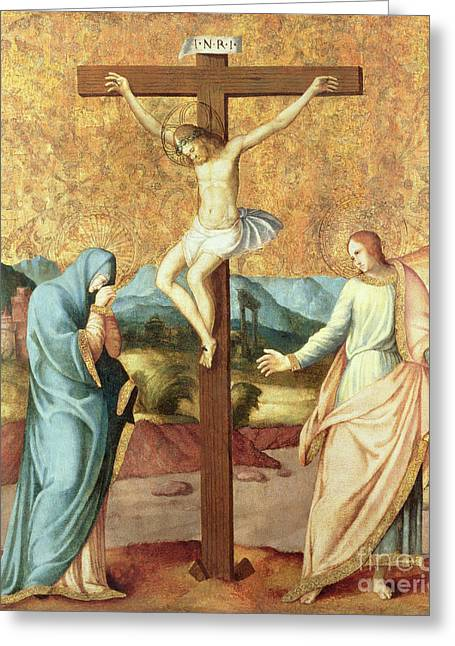 15th Greeting Cards - The Crucifixion with the Virgin and St John the Evangelist Greeting Card by French School