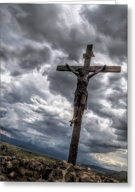 Crucifixtion Greeting Cards - The Crucifixtion Greeting Card by Lena Sandoval-Stockley