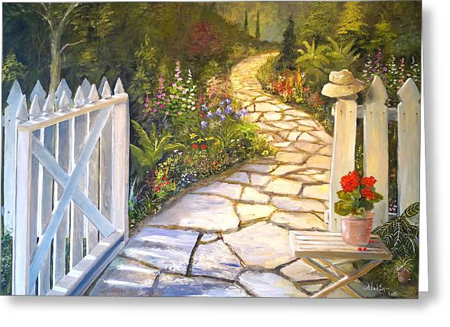 Stepping Stones Greeting Cards - The Cutting Garden Greeting Card by Alan Lakin