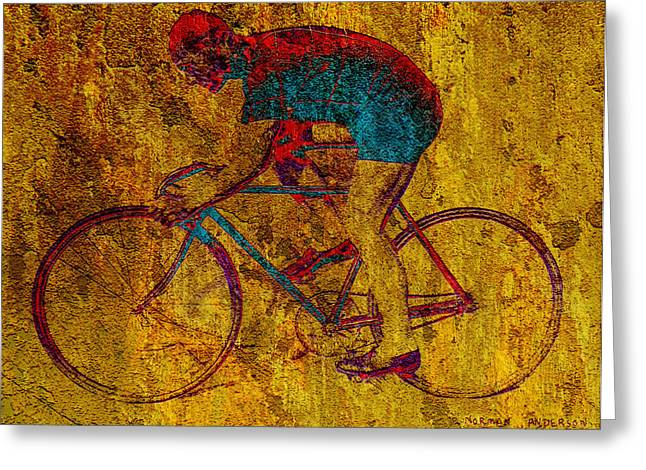 Bicycle Racing Greeting Cards - The Cyclist Greeting Card by Andrew Fare