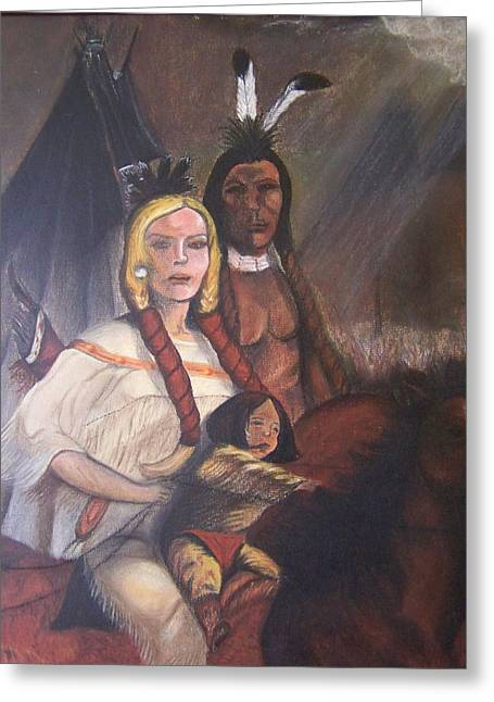 The Cynthia Ann Parker Family Greeting Card by Laurie Kidd