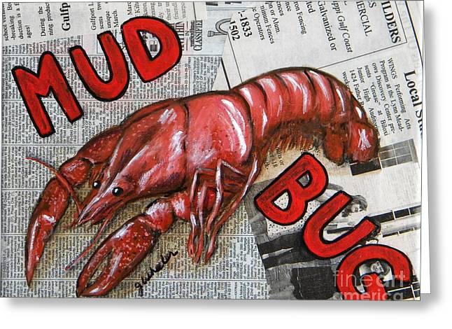 Crawfish Greeting Cards - The Daily Mud Bug Greeting Card by JoAnn Wheeler