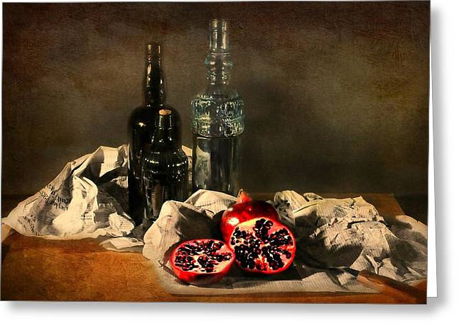 Fruit And Wine Greeting Cards - The Daily News Greeting Card by Diana Angstadt