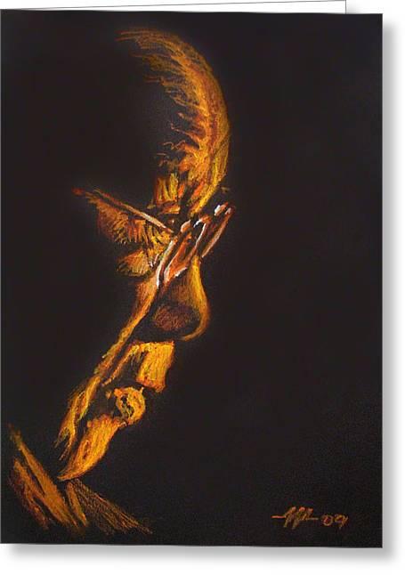 Pensive Drawings Greeting Cards - The Dalai Lama in Profile Greeting Card by Christo Wolmarans