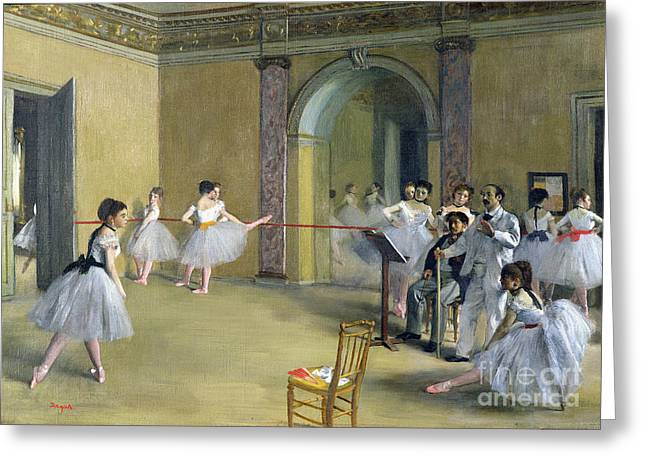 Degas Edgar 1834-1917 Greeting Cards - The Dance Foyer at the Opera on the rue Le Peletier Greeting Card by Edgar Degas
