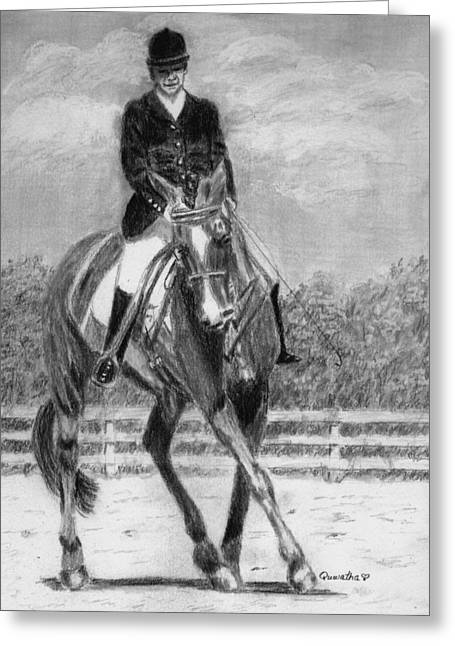 Dressage Drawings Greeting Cards - The Dance Greeting Card by Quwatha Valentine