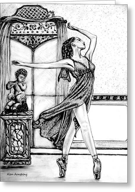 Ballet Dancers Drawings Greeting Cards - The Dance Studio Greeting Card by Alan Armstrong