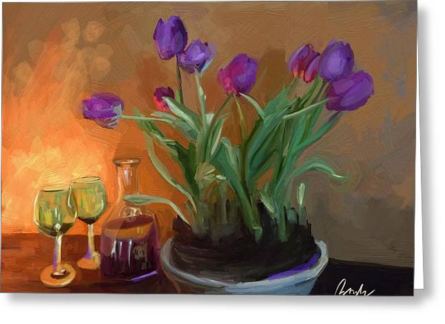 Wine Scene Mixed Media Greeting Cards - The Dancing Tulips Greeting Card by T Boyle Dera