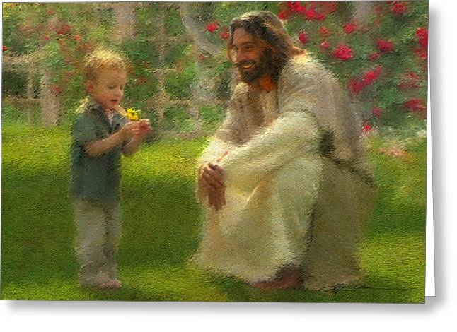 Jesus Christ Paintings Greeting Cards - The Dandelion Greeting Card by Greg Olsen