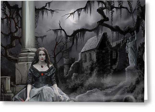 Copyrighted Greeting Cards - The Dark Caster Awaits Greeting Card by James Christopher Hill