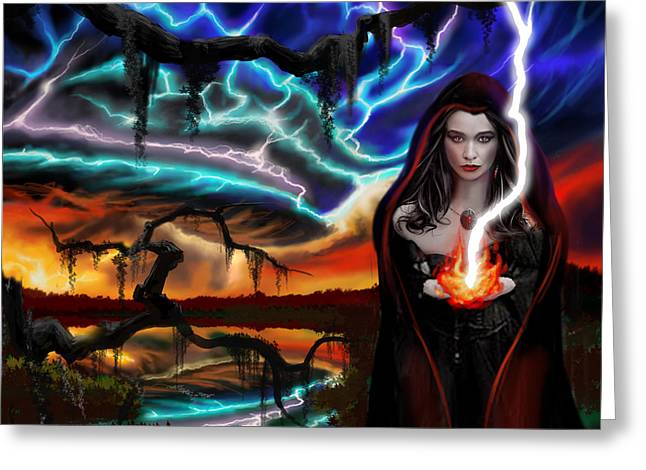 Copyrighted Greeting Cards - The Dark Caster Calls The Storm Greeting Card by James Christopher Hill