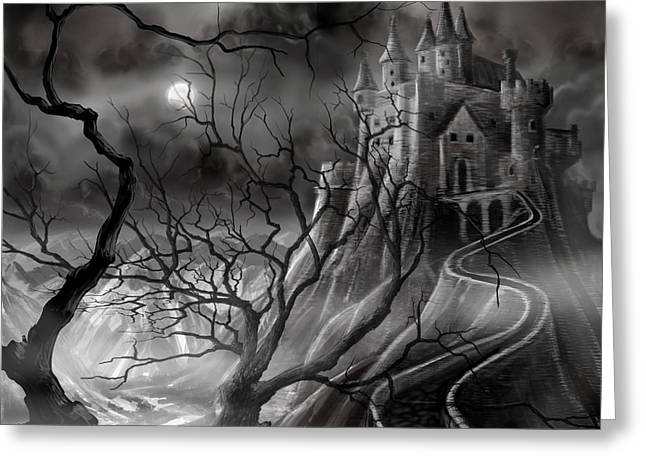 Gothic Horror Greeting Cards - The Dark Castle Greeting Card by James Christopher Hill