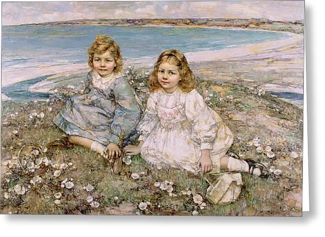 Bertram Greeting Cards - The Daughters of Bertram Roberts Greeting Card by Edward Atkinson Hornel