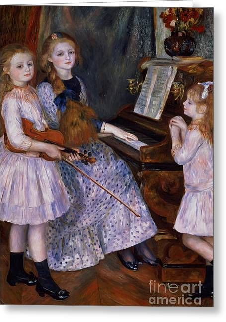 The Daughters Of Catulle Mendes At The Piano, 1888 Greeting Card by Pierre Auguste Renoir