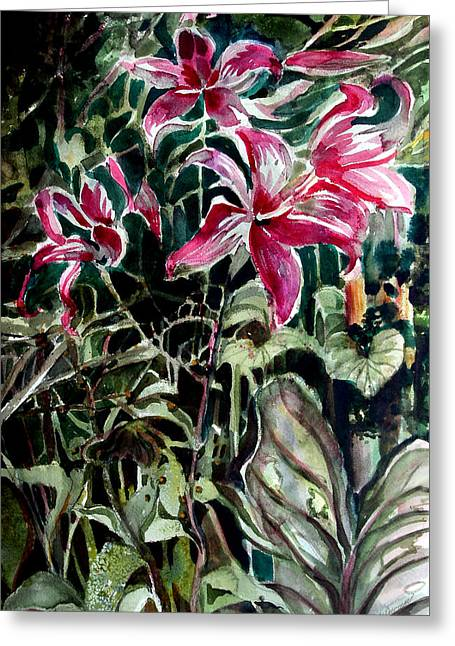 The Day Lilies Greeting Card by Mindy Newman