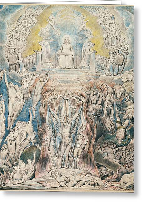 William Blake Drawings Greeting Cards - The Day of Judgment Greeting Card by William Blake
