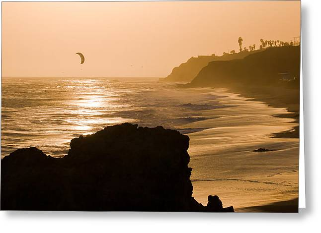 Kite Surfing Greeting Cards - The Days Last Ride Greeting Card by Adam Pender
