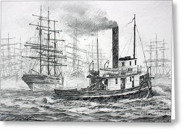 Tall Ships Drawings Greeting Cards - The Days of Steam and Sail Greeting Card by James Williamson
