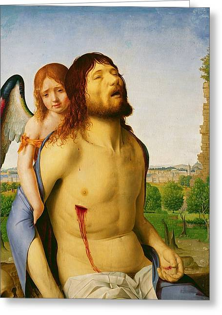 Side Panel Greeting Cards - The Dead Christ Supported by an Angel Greeting Card by Antonello da Messina