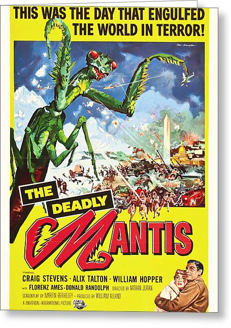 The Deadly Mantis 1957 Greeting Card by Mountain Dreams