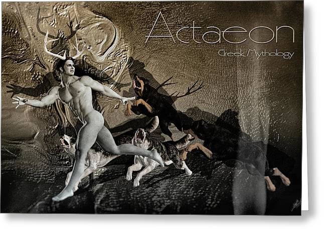 Transformations Mixed Media Greeting Cards - The death of Actaeon by Quim Abella Greeting Card by Joaquin Abella