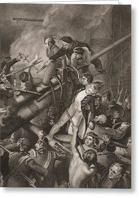 Bravery Greeting Cards - The Death Of Captain Faulknor.engraved Greeting Card by Ken Welsh