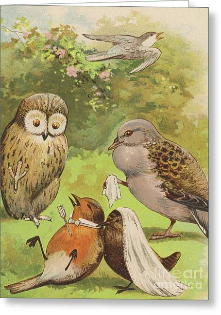 The Death Of Cock Robin Greeting Card by English School