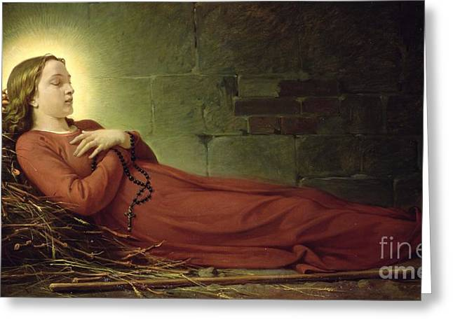 The Death of Germaine Cousin the Virgin of Pibrac Greeting Card by Alexandre Grellet