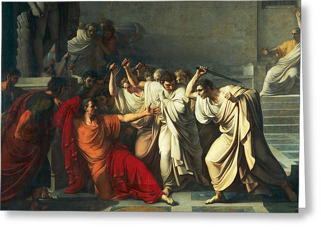The Death Of Julius Caesar Greeting Card by Vincenzo Camuccini