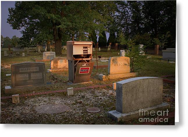 Headstones Greeting Cards - The Death of Oil Greeting Card by Warren Sarle