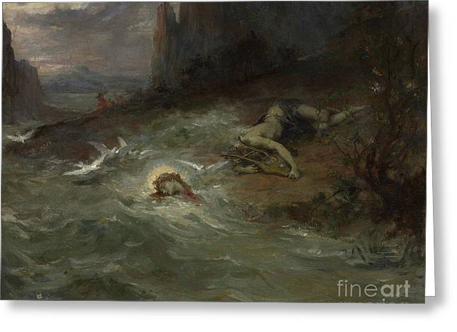 The Death Of Orpheus Greeting Card by Henri Leopold Levy