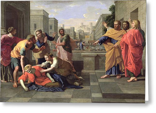 Poussin; Nicolas (1594-1665) Greeting Cards - The Death of Sapphira Greeting Card by Nicolas Poussin