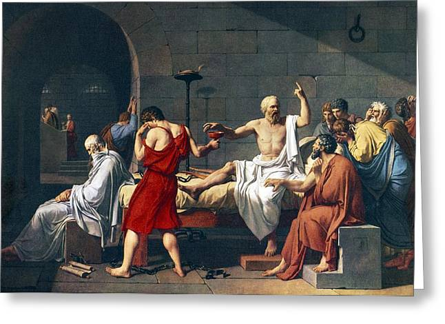 Commit Greeting Cards - The Death Of Socrates, 1787 Artwork Greeting Card by Sheila Terry
