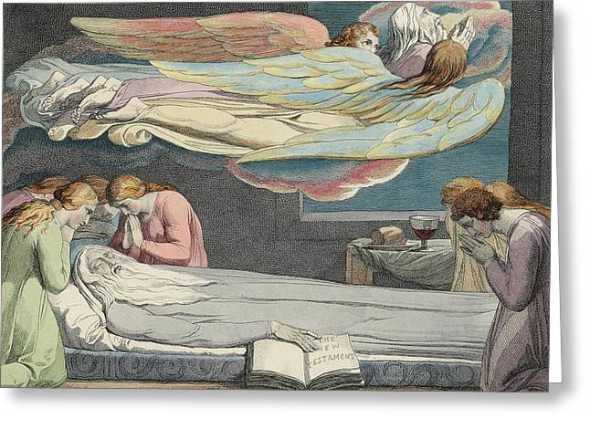 The Death Of The Good Old Man Greeting Card by Sir William Blake