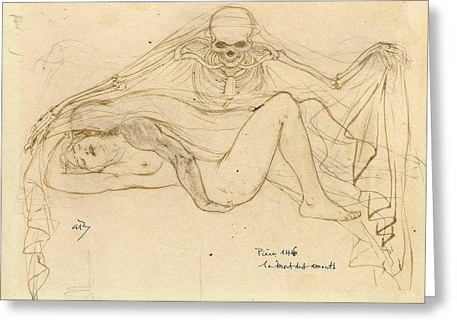 Charles Baudelaire Greeting Cards - The Death of the Lovers Greeting Card by Armand Rassenfosse
