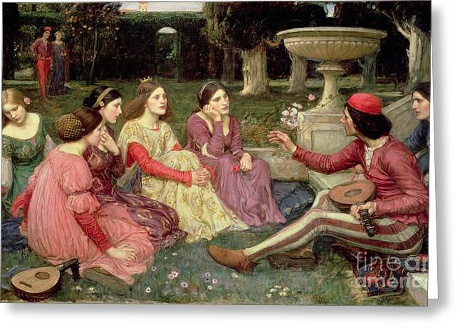 Waterhouse Greeting Cards - The Decameron Greeting Card by John William Waterhouse