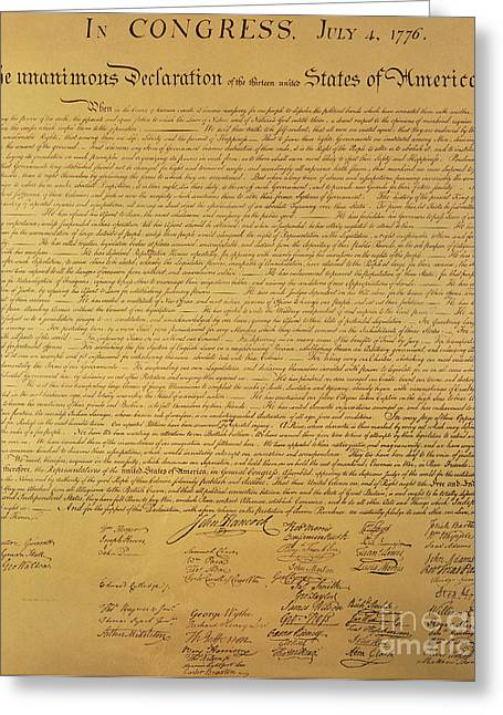 United States Greeting Cards - The Declaration of Independence Greeting Card by Founding Fathers