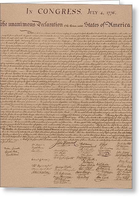 Us History Drawings Greeting Cards - The Declaration of Independence Greeting Card by War Is Hell Store