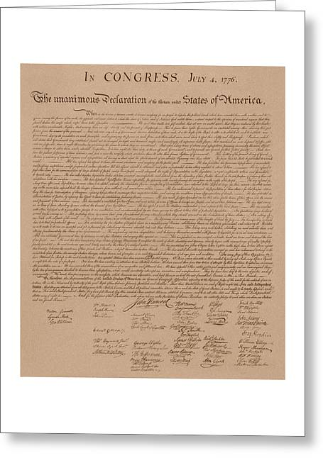 Adam Greeting Cards - The Declaration of Independence Greeting Card by War Is Hell Store